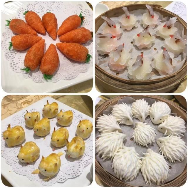 中華料理の飲茶の動物点心が4種類