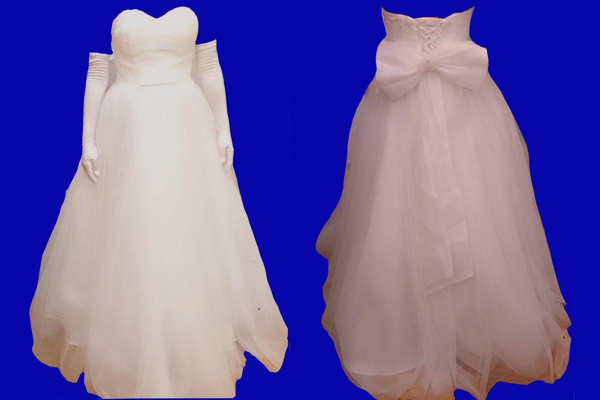 広州の婚紗街のウェディングドレスを試着して、前身ごろと後ろ身ごろごろが写っている