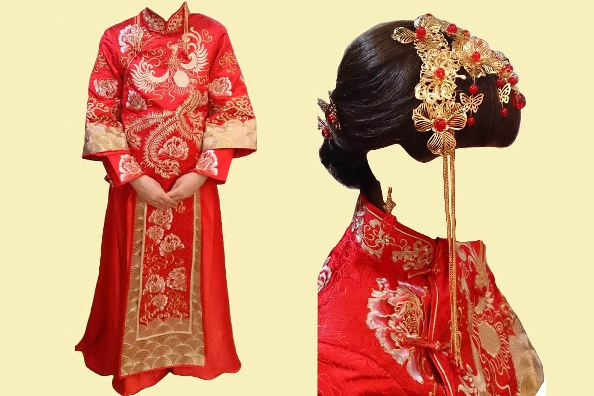 広州の婚紗街にある中国の伝統的な花嫁衣裳の婚礼服とピアスと髪飾り