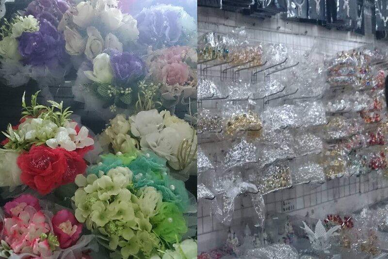 広州の婚紗街のウェディングドレスに合わせる結婚式の道具のティアラとブーケがたくさん並んでいる
