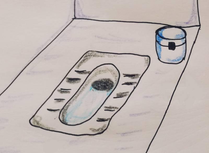 広州の中国式のトイレ