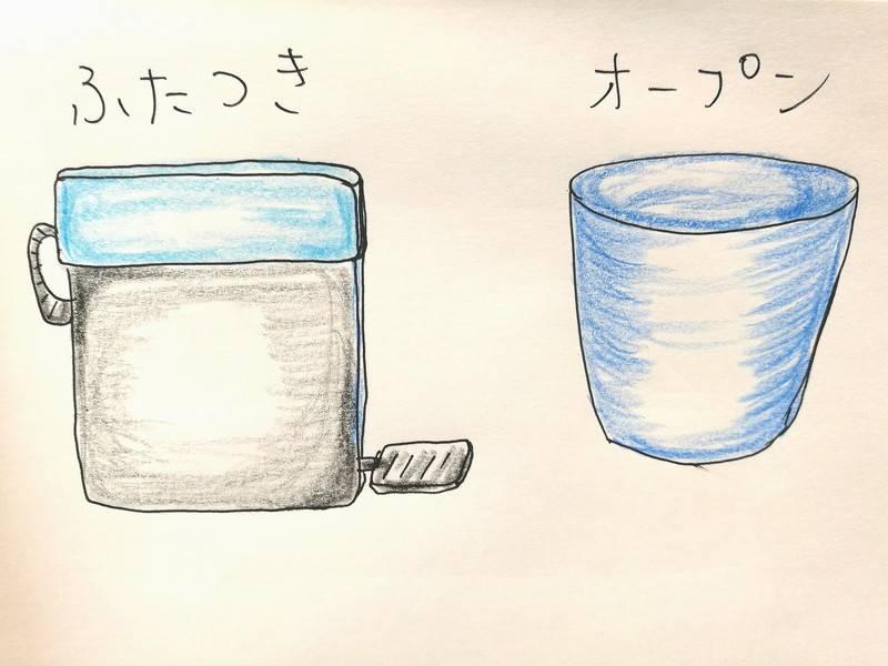 広州のトイレの個室にあるゴミ箱で蓋つきゴミ箱とオープンゴミ箱