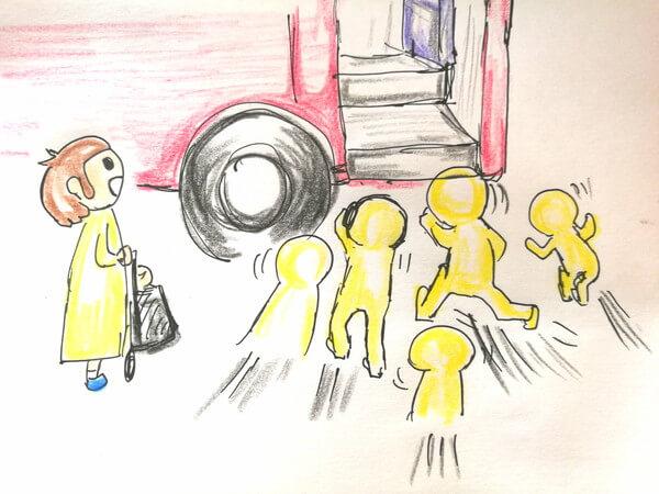 広州のバスが来て人が駆け寄っているイラスト